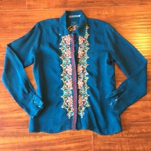 Johnny Was Teal Tunic W/Embroidered Flowers